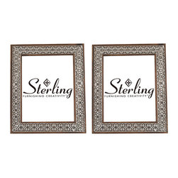 Sterling Industries - Set of 2 Pierced Metal Picture Frames - Set of 2 metal picture frames, the warm tones of the wooden frame can be seen through the open relief metal work.