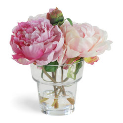 Winward Designs - Peony In Glass Flower Arrangement, Pink White - Our beautiful peonies  in several pretty pink shades  personify sweet young ladies. They are fresh, lovely and even a little shy.
