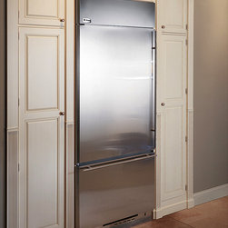 "GE Monogram 36"" Built-in Bottom Freezer Refrigerator - The Monogram built-in bottom freezer refrigerator has adjustable glass shelves, making it easy to store items of various sizes."