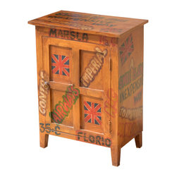 Pop Art Shipping Labels Mango Wood End Table Cabinet - If you believe furniture should be fun, you're gonna love our Pop Art End Table Cabinet.