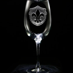 Crystal Imagery - Fleur De Lis Engraved Wine Glass, Set of 4 - Fleur de Lis wine glasses, engraved by Crystal Imagery with the popular Fleur-de-lis design, are a unique gift for those who love french decor and anything French! Our Fleur de lis engraved wine glass set of four features an old world European shield background carved out from the glass by our master glass carvers to leave the fleur de lis beautifully raised from the wine glass surface in an awesome 3 dimensional manner. A great wedding gift for a special bride and groom, anniversary or birthday gift idea for someone with French heritage or who loves French Country decor. Our French bar glasses are the gift that will make jaws drop and will be used and appreciated by generations to come.