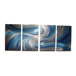 Miles Shay - Metal Wall Art Decor Abstract Contemporary Modern Sculpture- Echo 3 Blues - This Abstract Metal Wall Art & Sculpture captures the interplay of the highlights and shadows and creates a new three dimensional sense of movement as your view it from different angles.