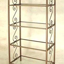 Grace Collection - French Curl Etagere (Gun Metal) - Finish: Gun MetalFour 0.25 in. thick tempered safety glass shelves. Ornamental side panel. Made from wrought iron. Spacing between shelves: 17 in.. Distance between floor and bottom shelf: 5.25 in.. Shelf: 36 in. W x 18 in. H. Overall: 38 in. W x 20 in. D x 80 in. H (148 lbs.)