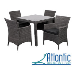 Atlantic - 'Liberty' Grey 5-piece Square Outdoor Dining Set - This 5-piece deluxe wicker dining set combines quality, style and comfort. The modern style and durable materials will make an immediate impact on your patio area, with weather-resistant wicker and a tempered glass table top.
