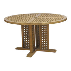 Frontgate - Yacht Round Outdoor Dining Table, Patio Furniture - Marine-grade Burmese teak is ideal for any environment, including beach and oceanfront destinations. Mortise-and-tenon construction provides long-lasting durability. As with all teak products, a natural patina will occur over time. Solid brass accents. Some assembly required. The Yacht Round Dining Table by Summer Classics&reg offers a solid, marine-grade teak frame that captures the romance of a sea voyage. Hand-cut teak pieces are notched to create the exquisite detailing. Part of the Yacht Collection by Summer Classics&reg .  . . . .