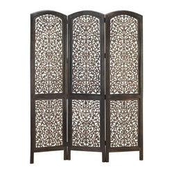 "Benzara - Masterpiece Wood Room Divider Screen 3 Panel - Masterpiece wood room divider screen 3 panel. One of the best room divider screen for your home. 3 panel room divider is 72"" high and 54"" wide. Great add on for any room decor."