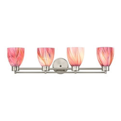 Design Classics Lighting - Satin Nickel Modern Bathroom Light with Pink Art Glass - 704-09 GL1004MB - Contemporary / modern satin nickel 4-light bathroom light. A socket ring may be required if installed facing down. Takes (4) 100-watt incandescent A19 bulb(s). Bulb(s) sold separately. UL listed. Damp location rated.