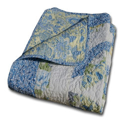 Greenland - Greenland Home Francesca Accessory Throw Blanket - The Francesca quilted throw updates the traditional double wedding ring design with today's fashion prints in 100% cotton. Patchwork construction in vivid blue, green and yellow on a soft white ground