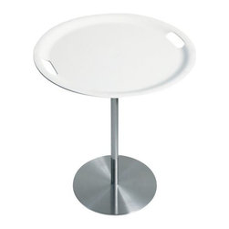 Alessi - Op-la Tray Table by Alessi - The Op-la Tray Table by Alessi, is a table and tray in one. Remove the handled tray to serve and return it to its position on the frame when finished and use it as a table top. Available with a stainless steel base and White plastic top.Shipping:In Stock items ship within 1 business day. Others usually ship within 2 weeks unless otherwise noted.Dimensions:Diameter 19 in., Height 21 in.