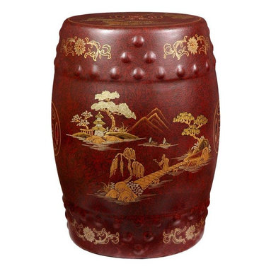 Oriental Furniture - Red - Glazed Garden Stool - Hand-crafted by a small community of artisans in the Guangdong province of mainland China, this breathtaking garden stool is evidence of their mastery of their trade. Inspired by Chinese craftsmanship of the 18th Century, each stool has been hand painted with a traditional Chinese village scene and finished with a rich, crackle lacquer finish. Use it as a seat, plant stand, side table, or a truly unique and one-of-a-kind display piece.