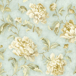 Neutral Cabbage Rose Trail Wallpaper - Beautiful old-fashioned cabbage roses are perfect for a cottage feel.