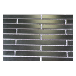 "Metal Silver Stainless Steel Stick Brick Tiles - sample-METAL SILVER STAINLESS STEEL 1/4X4 STICK BRICK TILES SAMPLE You are purchasing a 1/4 sheet sample measuring approximately 6"" x 6"". Samples are intended for color comparison purposes, not installation purposes.-Glass Tiles -"