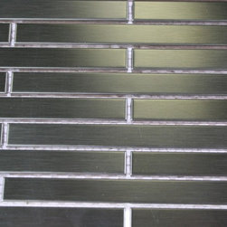 """Metal Silver Stainless Steel Stick Brick Tiles - sample-METAL SILVER STAINLESS STEEL 1/4X4 STICK BRICK TILES SAMPLE You are purchasing a 1/4 sheet sample measuring approximately 6"""" x 6"""". Samples are intended for color comparison purposes, not installation purposes.-Glass Tiles -"""