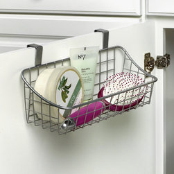 Bathroom Storage & Organization - Maximize precious cabinet space by storing your sponges, bottles, cleaning supplies and more with the innovative Small Over the Cabinet Door Grid Basket from Spectrum. The unique design requires no installation and conveniently fits over cabinet doors. Made of sturdy steel, it's perfect for the kitchen, bathroom, or laundry room.