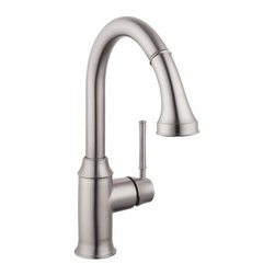 """Hansgrohe - Hansgrohe 04216800 Steel Optik Talis C Talis C Pull-Down Prep Kitchen - Product Features:  All-brass faucet body and handle construction Fully covered under Hansgrohe s limited lifetime warranty Hansgrohe faucets are designed and engineered in Germany Superior finishing process - finishes will resist corrosion and tarnishing through everyday use Ergonomic pull-down with full and needle sprays enhances the faucets versatility Locking Spray Diverter Spout swivels 150-degrees providing greater access to more areas of the sink Spout design provides optimal room under the faucet for any size task M2 ceramic cartridge for a lifetime of smooth operation ADA compliant - complies with the standards set forth by the Americans with Disabilities Act for kitchen faucets Low lead compliant - meeting federal and state regulations for lead content  Product Specifications:  Overall Height: 13-5/8"""" (measured from counter top to highest part of faucet) Spout Height: 8-1/4"""" (measured from counter top to spout outlet) Spout Reach: 7-5/8"""" (measured from center of faucet base to center of spout outlet) Number of Holes Required for Installation: 1 Flow Rate: 2.2 GPM (gallons-per-minute) Maximum Deck Thickness: 2-3/8"""" Designed for use with standard U.S. plumbing connections All hardware needed for mounting is included with faucet  Product Technologies and Benefits:  MagFit Magnetic Spray Head Docking:This innovative feature from Hansgrohe integrates a magnet into the docking connection of your pullout faucet spray head. When not in use it securely holds the faucet head in place, and with a light tug the faucet head is free and completely versatile once again. This solves the issue with the classic pullout style faucets of sagging"""
