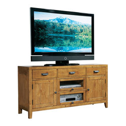 Riverside Furniture - Riverside Furniture Summerhill 58 Inch TV Console in Canby Rustic Pine - Riverside Furniture - TV Stands - 91640 - Riverside's products are designed and constructed for use in the home and are generally not intended for rental commercial institutional or other applications not considered to be household usage. Riverside uses furniture construction techniques and select materials to provide quality durability and value in their products. The construction of Riversides core product line consists of a combination of cabinetmaker hardwood solids and hand-selected veneers applied over medium density fiberboard (MDF) and particle board. MDF and particle board are used in quality furniture for surfaces that require stability against the varying environmental conditions in modern homes.You'll appreciate the multiple-step application of Riverside's furniture finishes. Their finishing processes involve several steps of hand sanding applications of several types of finishing coats padding and polishing.