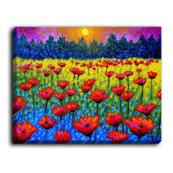 DiaNoche Designs - DiaNoche Canvas Wall Art by John Nolan Twilight Poppies - DiaNoche Designs works with artists around the world to create fabulous and unique home decor products.  Canvas Wall Art is the finishing touch to every home, office, nursery, bedroom and living space.  Each artistic wall hanging is a reprint of an original art piece and comes ready to hang with hooks and a backing for a clean look and feel.  The inks are UV tested to ensure a fade free lifetime and can be cleaned with a damp cloth.  These are VERY sturdy creations that adds a touch of your class!  Choose unframed or a colored black or walnut fram made from a textured recycled plastic.