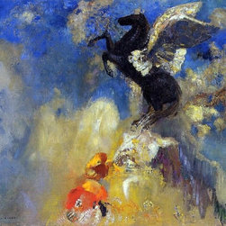 "Odilon Redon The Black Pegasus - 16"" x 20"" Premium Archival Print - 16"" x 20"" Odilon Redon The Black Pegasus premium archival print reproduced to meet museum quality standards. Our museum quality archival prints are produced using high-precision print technology for a more accurate reproduction printed on high quality, heavyweight matte presentation paper with fade-resistant, archival inks. Our progressive business model allows us to offer works of art to you at the best wholesale pricing, significantly less than art gallery prices, affordable to all. This line of artwork is produced with extra white border space (if you choose to have it framed, for your framer to work with to frame properly or utilize a larger mat and/or frame).  We present a comprehensive collection of exceptional art reproductions byOdilon Redon."