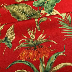 "Botanica Upholstery Fabric in Red Lipstick - Botanica Upholstery Fabric in Red Lipstick is a tropical, floral patterned upholstery grade fabric that is perfect for seats or colorful accent pillows. Add this fabric to your interior design and have the feeling of vacation with you year round! 100% polyester with a width of 62″. Repeat: V 27"" H 27"". This fabric has fire rating and passes 50,000 Double Rubs abrasion test. Machine washable with warm water."