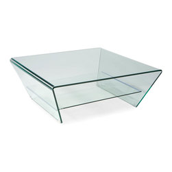 Moe's Home Collection - Tocca Coffee Table Glass - Contemporary glass coffee table with 2 levels for added storage and display