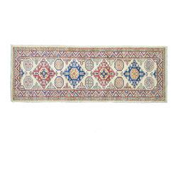 1800GetARug - Oriental Rug Runner Ivory Fine Kazak Hand Knotted Rug Sh11273 - About Tribal & Geometric
