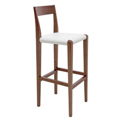 nuevoliving - Walnut Counter Stools, White Leather Seats - Birch legs with walnut stain.