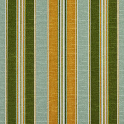 Gold Blue And Green Striped Indoor Outdoor Marine Upholstery Fabric By The Yard - This upholstery grade fabric can be used for all indoor and outdoor applications. It is Scotchgarded, and is mildew, fade, water, and bacteria resistant. This fabric is made in America!