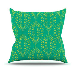 """Kess InHouse - Anneline Sophia """"Laurel Leaf Green"""" Teal Floral Throw Pillow (Outdoor, 18"""" x 18"""" - Decorate your backyard, patio or even take it on a picnic with the Kess Inhouse outdoor throw pillow! Complete your backyard by adding unique artwork, patterns, illustrations and colors! Be the envy of your neighbors and friends with this long lasting outdoor artistic and innovative pillow. These pillows are printed on both sides for added pizzazz!"""