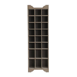 Ballard Designs - Sarah Storage Tower - Shoes & Handbags - Holds 18 pairs of shoes. Stores six handbags. Brushed Taupe finish. Our Sarah Shoe and Handbag Storage Tower offers the luxury of a custom built–in at a fraction of the cost. Cubbies are lined in soft, pale gray fabric to protect expensive shoes and handbags and keep them looking newer longer. Cabinets are solidly crafted with matching crown and base details, so you can position them with larger cubbies up or down. Sarah Shoes & Handbags Storage Tower features: . . .