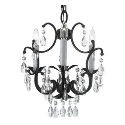 Wrought Iron Crystal Chandelier Lighting Country French 3 Lights Ceiling - A great European tradition. Nothing is quite as elegant as the fine chandeliers that gave to beautiful evenings at palaces and manor houses across Europe. This beautiful chandelier from the Versailles Collection has 3 light and is decorated and draped with crystal. The frame is Wrought Iron, adding the finishing touch to a wonderful fixture. The timeless elegance of this chandelier is sure to lend a special atmosphere anywhere its placed!