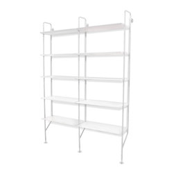 Blu Dot - Blu Dot Hitch Add-on Bookcase, White / White - Powder coated steel uprights in three colors and two shelf finish options make you the master of your own book case destiny. Single units stand alone. Gang up multiples to create mass appeal with the Hitch Add-on Bookcase.Shelves are wood veneer (smoke on ash) over engineered substrate or lacquered engineered substrate (white), Powder-coated steel upgrights
