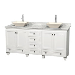 "Wyndham Collection - 72"" Acclaim White Double Vanity w/ White Carrera Marble Top & Pyra Bone Sink - Sublimely linking traditional and modern design aesthetics, and part of the exclusive Wyndham Collection Designer Series by Christopher Grubb, the Acclaim Vanity is at home in almost every bathroom decor. This solid oak vanity blends the simple lines of traditional design with modern elements like beautiful overmount sinks and brushed chrome hardware, resulting in a timeless piece of bathroom furniture. The Acclaim comes with a White Carrera or Ivory marble counter, a choice of sinks, and matching mirrors. Featuring soft close door hinges and drawer glides, you'll never hear a noisy door again! Meticulously finished with brushed chrome hardware, the attention to detail on this beautiful vanity is second to none and is sure to be envy of your friends and neighbors"