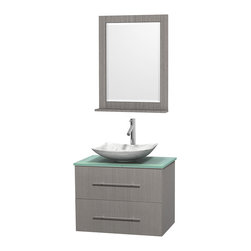 """Wyndham Collection - Centra 30"""" Grey Oak Single Vanity, Green Glass Top, White Carrera Marble Sink - Simplicity and elegance combine in the perfect lines of the Centra vanity by the Wyndham Collection. If cutting-edge contemporary design is your style then the Centra vanity is for you - modern, chic and built to last a lifetime. Available with green glass, pure white man-made stone, ivory marble or white carrera marble counters, with stunning vessel or undermount sink(s) and matching mirror(s). Featuring soft close door hinges, drawer glides, and meticulously finished with brushed chrome hardware. The attention to detail on this beautiful vanity is second to none."""