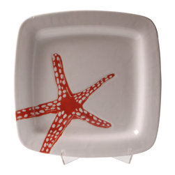 "Jessica Howard Ceramics - Square Platter, 12""x12"", Red Starfish - A nature-inspired design makes a charming side adornment to your serving platter, complementing your pretty appetizers. This hand-painted platter is a cute, creative addition to any kitchen, whether your style is simple and nature-inspired or eclectic and quirky. The platter is hand-glazed and kiln-fired for lasting color."