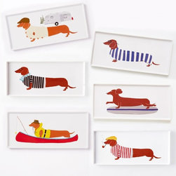 Claudia Pearson Dog Plate, Rectangle - Hot dogs served on a hot dog plate. Need I say more?
