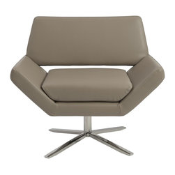Euro Style - Euro Style Carlotta Lounge Chair X-EPT70050 - The second you sit, an orderly, angular look gives way to extremely comfortable experience. It's beautifully designed alchemy that brings together crisp geometry and that I'd rather not get up now' luxury.