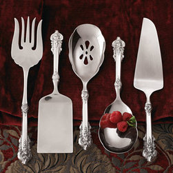 """Wallace - Wallace Pierced Spoon - Outstanding sterling silver servers from Wallace® Silversmiths. Each, approximately 11""""L. Dishwasher safe. USA made. Available but not shown: cake knife, pasta scoop, and berry spoon. About Wallace ® Silversmiths: For over 150 years, Wall..."""