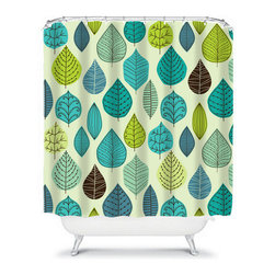 Shower Curtain Flower Aqua Lime 71x74 Bathroom Decor Made in the USA - DETAILS: