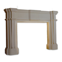 Distinctive Mantel Designs - Richmond, Stoney Ground - Large and detailed, the Richmond mantel is the perfect centerpiece for a traditional great room. Its Old English detail is rich and complex.  The Richmond makes a great complement to any large, traditional fireplace.