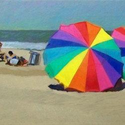 """Rainbow Umbrellas"" Artwork - Rainbow umbrellas on the beach with bathers."