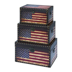 "Benzara - Wooden and Leather Trunk with American Flag Design - Set of 3 - If your home interiors are missing some suave and uniqueness, then the Leather and Wooden trunk is a perfect addition that will revamp your settings with its rustic look. The worn out distressed appearance adds an antique feel to it that makes it immensely attractive to look at. The casual styling combined with the ruggedness makes it look like a vintage crate that has survived over the years. The supreme quality of wooden adds to the stability and strength making it suffice the daily wear and tear and prolongs usage. The stylish quotient blended with unique features adds to the vintage appeal that is hard to overlook. Crafted to perfection, this one of a kind accessory that is an exquisite and rare find. It is available in 3 size variants - 11"" H x 19"" W x 12"" D, 13"" H x 22"" W x 14"" D, 15"" H x 24"" W x 16"" D."