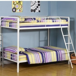 Dorel Home Ambrose Twin over Twin Bunk Bed - White - Strong and sturdy, the Dorel Home Ambrose Twin over Twin Bunk Bed - White is designed to last years, whether it's being played on, used in a guest room, or is a bunk for your children. Sleek and modern, this bed has a classic white finish which matches almost any decor. This bunk bed meets ASTM and CPC safety specifications, has a ladder which attaches to the frame for added safety and a guardrail that runs the length of the top bunk. A beautiful addition to any room, you and your kids will love this bunk bed.Additional FeaturesMade for use without a box springEasy to assembleDurable constructionAbout Dorel IndustriesFounded in 1962, Dorel Industries is a family of over 26 brands, including bicycle brands Schwinn and Mongoose, baby lines Safety 1st and Quinny, as well as home furnishing brands Ameriwood and Altra Furniture. Their home furnishing division specializes in ready-to-assemble pieces, including futons, microwave stands, ladders, and more. Employing over 4,500 people in 17 countries and over four continents, Dorel is renowned for their product diversity and exceptionally strong commitment to quality.