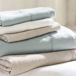 Linen Solid Sheet Set, Queen, Porcelain Blue - Lustrous, smooth and cool to the touch, our linen sheets are an everyday luxury. Made of pure linen. Pre-washed and pre-shrunk. Set includes flat sheet, fitted sheet and two pillowcases (one with twin). Pillow insert sold separately. Machine wash. Imported.