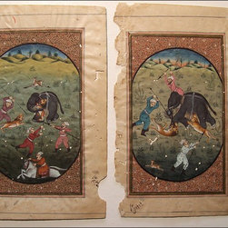 """Fleur-de-Lis Flea Market ~ Art and Folk Art - A Pair of Antique Indo-Persian Hand Painted Miniatures, Mogul School Miniatures.  These Incredible Antique Gauche Paintings may be 16th to 18th Century. The Miniatures Depict a Hunting Scene,  Framed by  a Border of Small, Detailed Florals.  The Reverse of Each Painting Contains the Persian Text. Each Measures Approx: 4.5"""" x 7"""" overall.  More Details Available on my Website."""