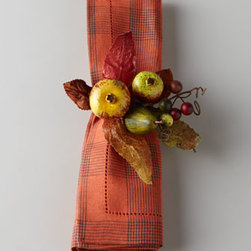 """Deborah Rhodes - Deborah Rhodes Four Harvest Fruit Napkin Rings - Harvest-inspired napkin rings add fall color to table settings. Made of polyester/rayon and wire. Spot clean. Set of four; each, 6""""Dia. x 3""""T. Made in the USA."""