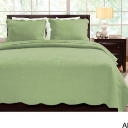 None - Serenity 100-percent Cotton Oversized 3-piece Quilt Set - Add a touch of quiet style to your bedroom with this luxury cotton quilt set featuring a fancy chrysanthemum stitch design on a single-color background that lets the quality of the set shine out. Fabric-bound scallop borders complete the refined look.