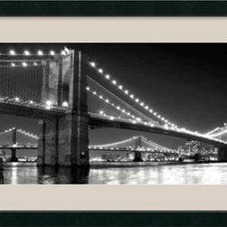 Amanti Art - Brooklyn Bridge and Manhattan Bridge at Night Framed Print by Phil Maier - Lights like diamonds on velvet; photographer Phil Maier captures these beautiful New York bridges spanning the East River.