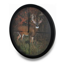 Zeckos - Big Whitetail Buck In Scope Cross Hairs HD Deer Image Atomic Wall Clock 13 in. - This wall clock is sure to keep you on time and on target with an atomic design that automatically refreshes the time signal several times a day, and adjusts for daylight savings time featuring an actual high-resolution printed image of a big whitetail deer standing in a field with the woods in the background caught in the cross-hairs of a scope. This 13.5 inch diameter, 1.5 inch deep (34 X 4 cm) molded plastic clock boasts a glass cover with black hour and minute hands, and the quartz movement requires just 1 AA battery (not included). It's easy to mount on the wall using the attached hanger on the back, and perfect for your trophy room, living room, hunting lodge or deer camp This highly accurate clock is great as a gift any outdoorsman or outdoors-woman is sure to admire
