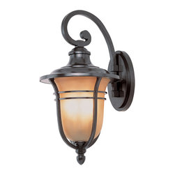 Trans Globe - Amber Drop Outdoor Wall Lantern - Amber Drop Outdoor Wall Lantern features Frosted Tea Stain glass with Rubbed Oil Bronze finish available in four sizes.  Available in a wall, post top, pendant and lamp post version.  Small size is 7 inches wide x 13.5 inches high x 8.5 inches deep and requires one 100 watt 120 volt A19 incandescent lamp not included.  Medium size is 8.75 inches wide x 17.25 inches high x 10.5 inches deep and requires one 100 watt 120 volt A19 incandescent lamp not included.  Large size is 11.25 inches wide x 21.5 inches high x 13.25 inches deep and requires three 60 watt 120 volt B10 candelabra base incandescent lamps not included.  Extra large size is 13 inches wide x 24.5 inches high x 15.25 inches deep and requires four 60 watt 120 volt B10 candelabra base incandescent lamps not included.