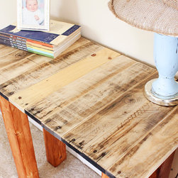 Yonder Years Rustic Reclaimed Wood Small Hall Table - Natural Finish - Make an eco friendly statement in your living room, entryway or hall with beautiful tones of natural reclaimed wood!